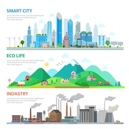 플랫 스마트 도시, 에코 생활, 산업 인포 그래픽 템플릿 벡터 일러스트 레이 션 설정합니다. 생태 및 자연 오염 개념. 건물, 고층 빌딩, 자연, 언덕과 산,