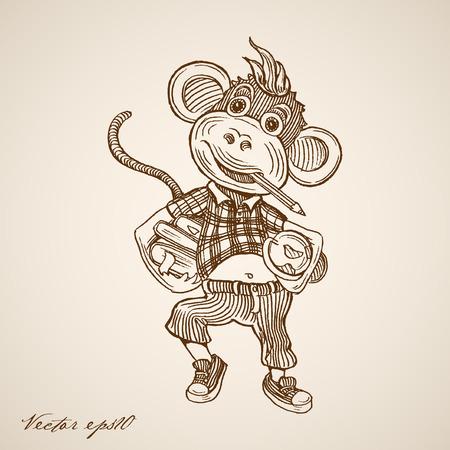 Gravure vintage hand getrokken vector schattige aap met buis, boeken en potlood in mond doodle collage. Potloodschets onderwijs illustratie. Stock Illustratie