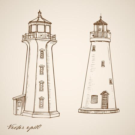 building sketch: Engraving vintage hand drawn vector lighthouses doodle collage. Pencil Sketch building illustration. Illustration