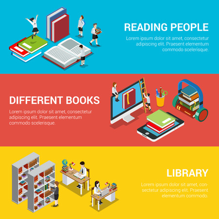 online education: Flat isometric banners with reading people, different online or audio books and library shelves vector illustration. 3d isometry Education and tutorial concept.