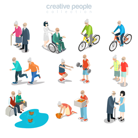 Flat isometric old couple walking, riding bicycle, gardening, running, making exercise vector illustration. 3d isometry happy life concept.