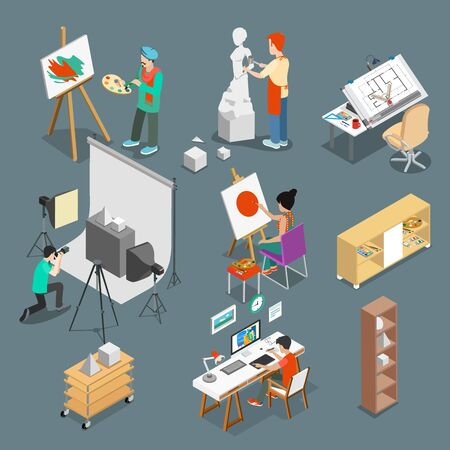 sculptor: Flat isometric Art studio or workshop with furniture, equipment and Graphic designer Sculptor photograph characters at working place vector illustration set. 3d isometry creative person concept.