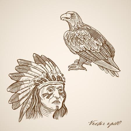 redskin: Engraving vintage hand drawn vector Indian and hawk head doodle collage. Pencil Sketch illustration.