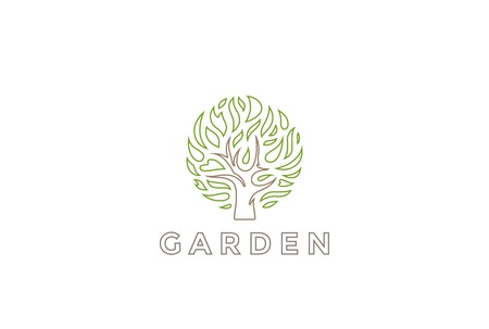 plant tree: Tree Logo circle shape design vector template.  Organic Natural Plant Garden Logotype concept icon