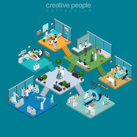 Flat isometric Medical centre interior vector illustration. Healthcare infographics template. 3d isometry Health care concept. Equipment, doctors, nurses, patients characters.
