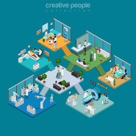 ilustración isométrica plana Centro médico Vector del interior. Salud plantilla de la infografía. isometría concepto de atención de la salud 3d. Equipo, médicos, enfermeras, pacientes caracteres.