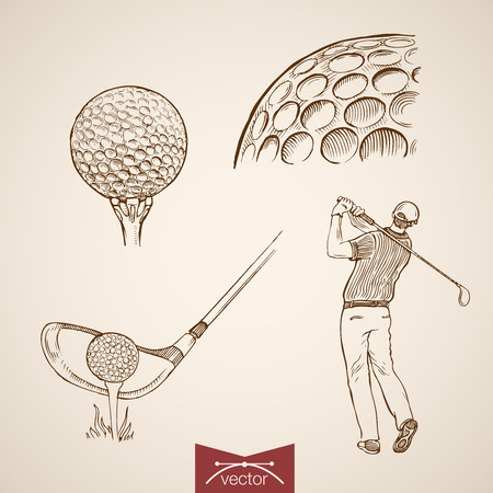Engraving vintage hand drawn vector golf player hitting ball doodle collage. Pencil Sketch sports illustration.