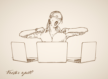 Engraving vintage hand drawn vector woman yawning at working place, three laptops around doodle collage. Pencil Sketch tired businesswoman illustration.
