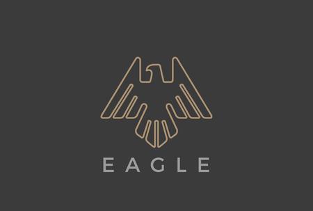 イーグルのロゴ デザイン ベクトル テンプレート線形高級紋章のスタイルを飛んでいる鳥。  隼鷹高騰概要ロゴ アイコン