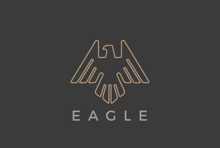 Eagle Bird flying Logo design vector template Linear luxury heraldic style.  Falcon Hawk soaring outline Logotype icon