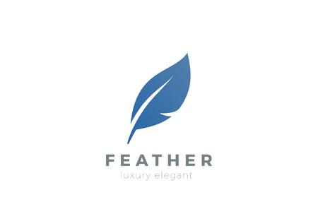 Quill Feather Pen Logo design vector template.