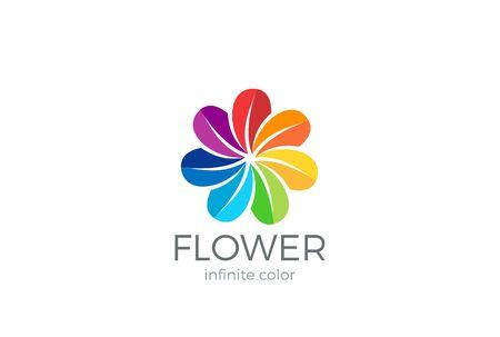 Kleurrijke bloem abstracte Logo lus ontwerp vector sjabloon. Teampartners vrienden sociale gemeenschap Logo concept pictogram