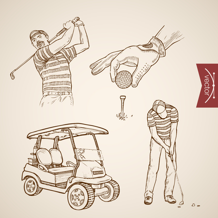 Engraving vintage hand drawn vector golf player hitting ball, car doodle collage. Pencil Sketch sports illustration.