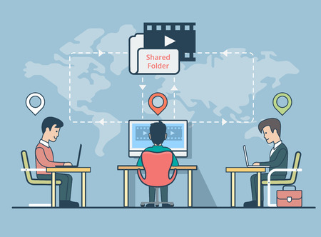business direction: Linear Flat Businessmen sitting on their distant working places with GEO location marks, map background with direction lines vector illustration. Business communication, shared information concept.