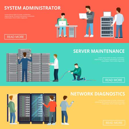 sistemas: servidor de la computadora plana ajustable bastidores de servicios infografía plantilla ilustración vectorial. concepto de base de datos. el mantenimiento del servidor, la red de diagnóstico, el administrador del sistema, caracteres del personal técnico.