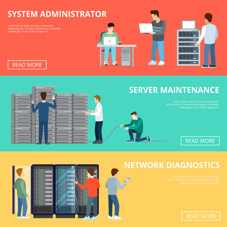 Flat Adjustable computer server racks service infographics template vector illustration. Database concept. Server maintenance, Network diagnostic, System administrator, technical staff characters.