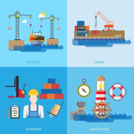 sea transport: Flat Shipment, Nautical transport in sea port, crane loading cargo on barge, lighthouse vector illustration set. Transportation, Shipping, Delivery concept. Compass, Lifebuoy loader worker character. Illustration