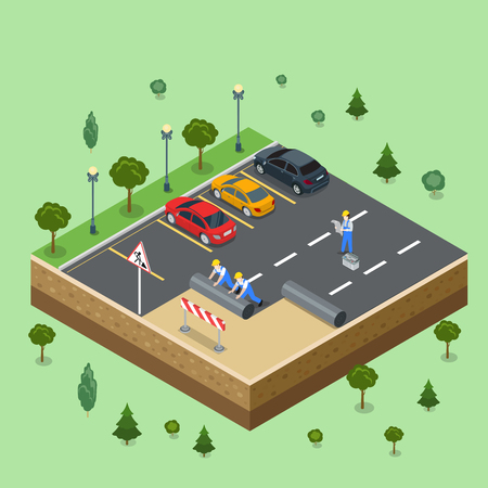 Flat isometric male workers laying asphalt, cars parked in the parking lot vector illustration. 3d isometry technical works, city service concept.