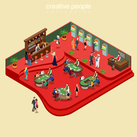 Flat isometric casino interior with poker and roulette tables, alcohol bar vector illustration. 3d isometry gambling business concept. Bartender, players, shuffler characters.