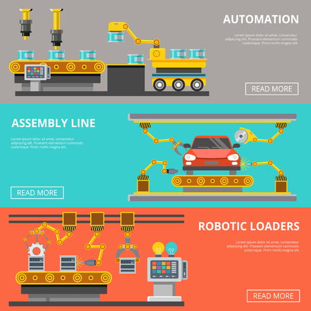 Piattaforme industriali di produzione di nastri trasportatori e linee di assemblaggio e caricatori robotici infographics modello illustrazione vettoriale set. Automazione del concetto di processo di produzione aziendale.