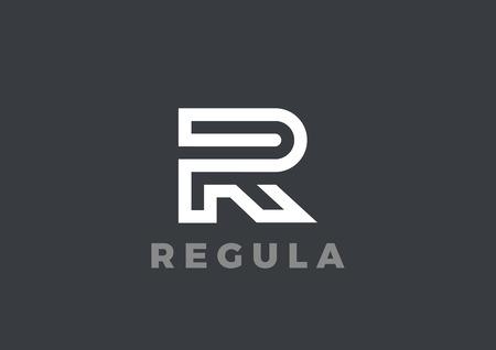 Lettre R Logo Modèle de vecteur de design de luxe linéaire. Type Logotype de symbole de caractère Banque d'images - 69594464