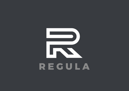 Letter R Logo Luxury design vector template Linear. Type Character Symbol Logotype