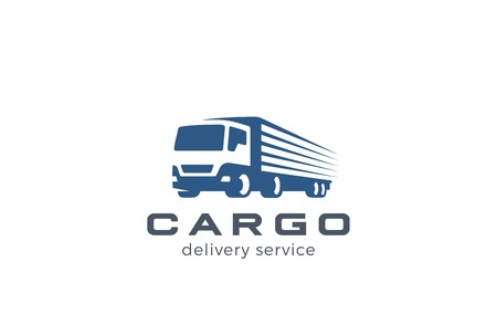 Truck Delivery Cargo Logo design vector template. Lorry Auto car vehicle logotype silhouette. Negative space style icon