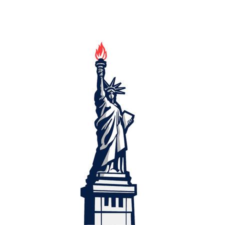full color: Liberty statue monument vector silhouette full body.  USA New York Patriotic symbol color design element