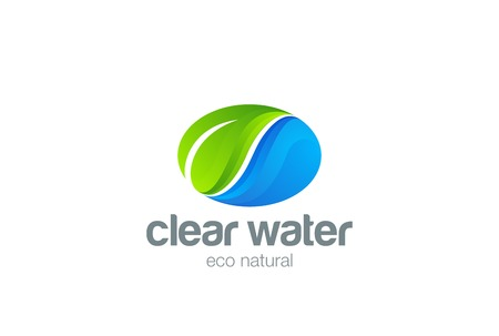 waterdrop: Eco Nature organic Logo design vector template. Clear water with green leaf Logotype concept icon Illustration