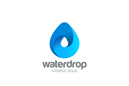 droplets: Water drop Logo design 3D vector template.  Waterdrop icon. Infinite Aqua droplet Logotype idea Illustration