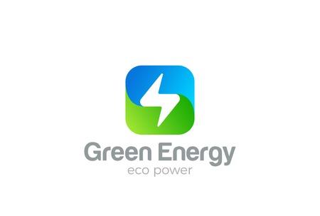 Flash Logo square design vector template. Thunderbolt symbol. Green Energy Eco Power electric Logotype concept.