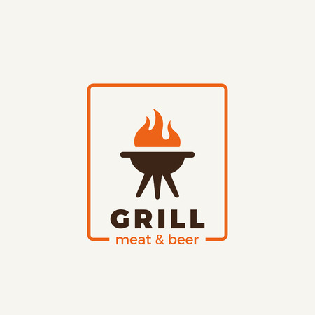 fire symbol: Grill meat restaurant Logo design vector template.  Hot fire flame symbol