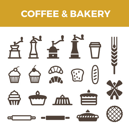 muffin: Coffee Bakery icons set for Badges hipster style.  Coffee Mill, cup, spike, bread, cake, croissant objects symbols.