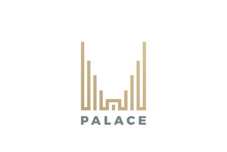 럭셔리 호텔 궁전 로고 디자인 벡터 서식 파일 선형 스타일입니다. 부동산 건설 로고 타입 개념 아이콘입니다. 일러스트