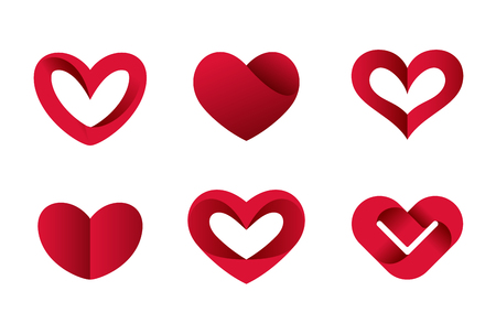 Heart shapes collection design vector template. St. Valentine day of love. Cardiology Medical Health care Logotype concept icons