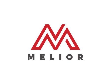 Letter M Logo Luxury design vector template Linear. Type Character Symbol Logotype Illustration