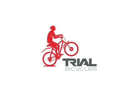 silueta ciclista: Trial Mountain Bike Rider silhouette Logo design vector template.  Extreme sports biker jumping concept icon. Bicycle store shop Logotype