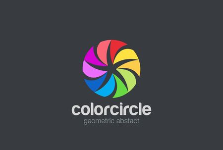 network marketing: Colorful Circle Star abstract Logo loop design vector template.  Team partners friends social community Logotype concept icon Illustration