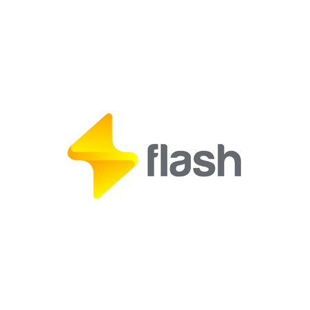 Flash Logo design vector template. Thunderbolt symbol.  Energy Power electric speed creative Logotype concept Illustration