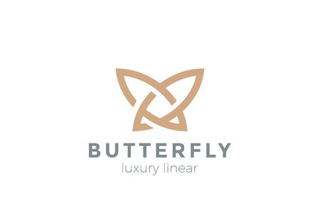 Farfalla Logo design modello astratto di vettore di stile lineare. Bellezza gioielli di moda di lusso concetto di icona logotipo.