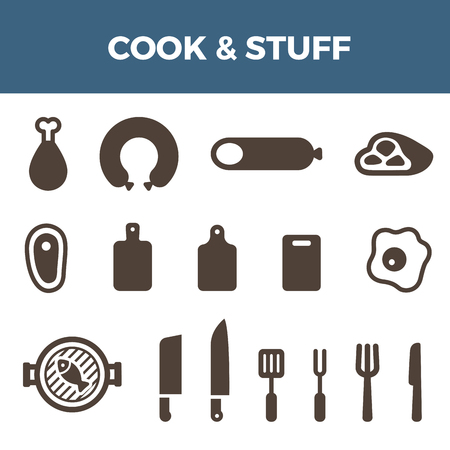 chicken meat: Cook Meat icons set for Badges hipster style.  Sausage, Meat, Chicken nugget, Egg, Knife, Fork objects symbol. Illustration
