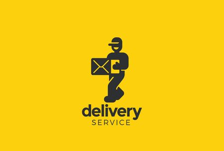 Delivery man courier holding box Logo design vector template Negative space style Vectores
