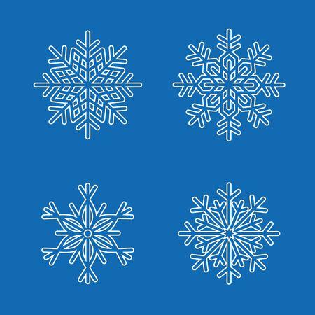 decoration design: Snowflakes vector design decoration winter snow set Illustration