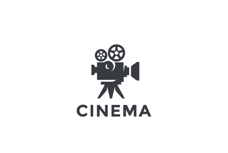 Cinema Old classic Camera Logo design vector template.