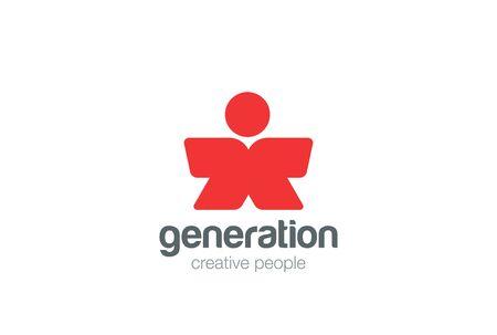 character abstract: Man Logo character abstract design vector template