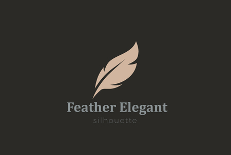 classic authors: Quill Feather Pen Logo Elelgant design vector template.  Law, Legal, Lawyer, Copywriter, Writer, Stationary Logotype concept icon