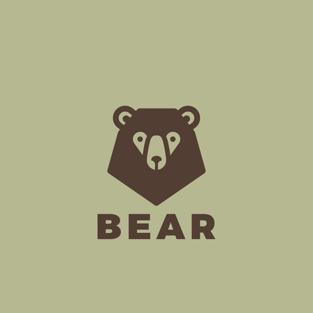 Bear head Logo design vector template. Vintage animal element for badges and posters.