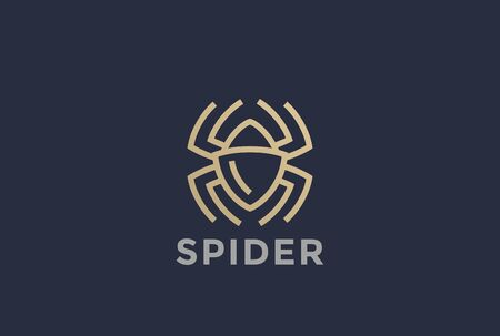 poison symbol: Spider Logo design vector template Linear style.  Dangerous Poison, Virus technology Bugs logotype concept symbol icon