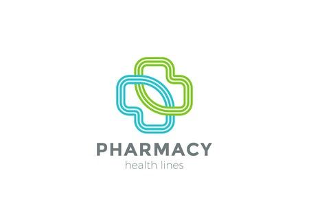Farmacia verde ecológico estilo lineal vector plantilla de diseño transversal. Clínica concepto del icono de Medicina Ilustración de vector