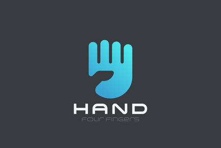 fingers: Hand Logo design vector template Negative space style